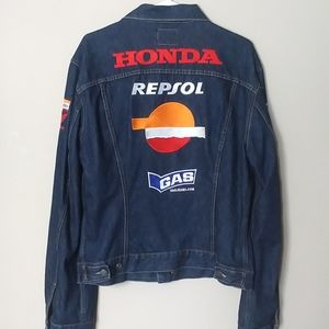 Other - Retro style racing patch denim jacket